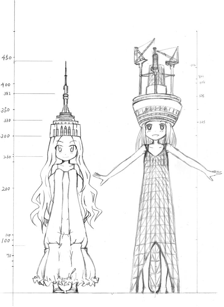2010年09月06日付け  エンパイアステートビルディング:443m(アンテナ塔含む)  東京スカイツリー:448m